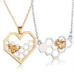 tier-choker Rabatt XP Charme Mode Silber Halsketten für Frauen Mädchen Herz Honeycomb Bee Tier Anhänger Halsband Halskette Schmuck Party Prom Geschenk