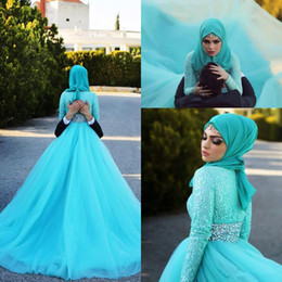 Wholesale winter scarves rhinestones - Modest Lace Long Sleeves Muslim Wedding Dresses with Scarf Zipper Back Rhinestone Sash Vestidos De Novia Sweep Tulle Arabic Wedding Gowns