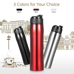 Wholesale iron vacuum - 350ml Manual Portable Press Pot Coffee Press Bottle Hand Operated Coffee Solid Bottle Vacuum Insulated Water Bottle