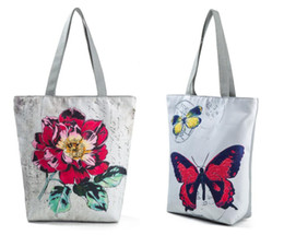 Wholesale Girls Large Shopping Bags - Wholesale Flower Butterfly Printed Canvas Tote Female Casual Beach Bags Large Capacity Women Single Shopping Bag Daily Use Canvas Handbags