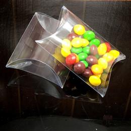 travesseiros de doces por atacado Desconto Atacado-100 peças claras PVC travesseiro forma caixas de doces transparente favor do casamento do partido titular caixas de chocolate doces sacos de doces