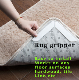 Wholesale pads for rugs - rug gripper Non Slip Rug Carpet Mat Grippers Anti Skid Corners Pad for Bathroom Car Reusable Washable Silicone Grip For Home 8 pcs set