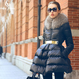 Wholesale Doudoune Femme - Down coat 2017 Doudoune femme New Luxury Fur Collar Womens down jacket Black Red Blue Size S-XXL Winter coat women
