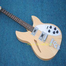 2018 de calidad superior Rickenback Guitarra Eléctrica de Bajo Color de Madera Natural, 6 Cuerdas Semi Hollow Body Bass Guitar, FreeShipping desde fabricantes