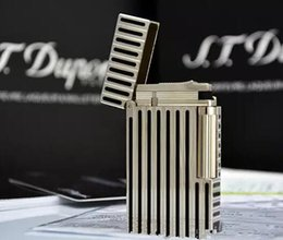 Wholesale Thin Gas Cigarette Lighter - 100% New ST memorial Black & silver thin stripes bright sound gas lighter