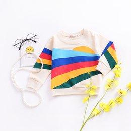 Equipo de la camisa del suéter online-Ins Kids Rainbow camiseta de algodón colorido impreso cuello redondo manga larga niños niñas Casual suéter ropa trajes 2-7T