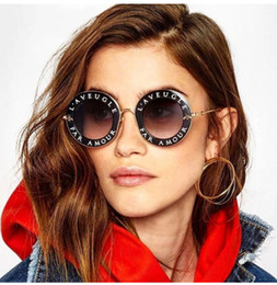 Wholesale Full Bee - Fashion Women Letters frame Sunglasses Bee Decorat Alloy Frame Round Sun Glasses UV400 eyewear designer round sunglasses