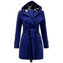 Hiver Trench Coat 2018 Chaud Femmes Manteau Taille Coupe-Vent Femmes Femmes Capuche longue section de laine à double boutonnage ? partir de fabricateur