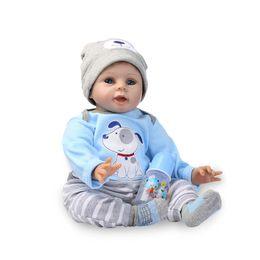 meninos brinquedos macios Desconto Nicery 20-22 polegada 50-55 cm Bebe Silicone Macio Menino Menina Brinquedo Reborn Baby Doll Presente para Crianças Blue Dog Bady Boneca