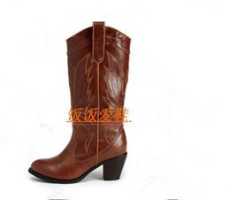 botas de hebilla vintage Rebajas Diseñador de marca de la mujer botas de punta redonda Western Lady Vintage talla de medias zapatos de becerro Chica de moda botas de caballero cuadrado Heel Knight