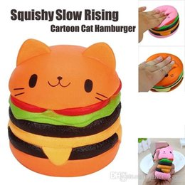 Wholesale Cartoon Hamburger - 2018 Cute Kawaii Soft Squishy Jumbo Cartoon Cat Hamburger Scented Slow Rising Exquisite Kid Soft Decompression Fun Toys Relax