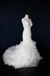 2019 vestido de dama de honra arrumado organza Formal Beading V Neck Backless Ruffle Sereia Vestidos de Noiva com Trem de Noiva Vestido De Noiva Personalizado Ocasião Especial Dama de Honra Do Partido 17wed379 desconto vestido de dama de honra arrumado organza