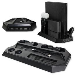 Controlador ps4 más frío online-Base de carga vertical multifunción para Sony PS4 Pro Estación de carga PS Controller PSVR Gamepad con ventilador