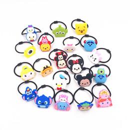 Wholesale cartoon hair ties - 1PCS Cute Cartoon Tsum Tsum Girls Headwear Hair Accessories Elastic Hair Bands Kids Ties Gum For Headdress Gift