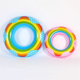 Wholesale Kids Swim Float Tube - Thickening Rainbow Swimming Ring For Kids Adults Cute Inflatable Tubes Creative Floating Mat Multi Size Choose High Quality 7 5xr Z