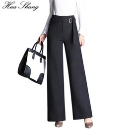 wide formal pants Coupons - Autumn Fashion Office Lady Style Formal Pants High Waist Wide Leg Pants Women Black Trousers With Belt Plus Size Female
