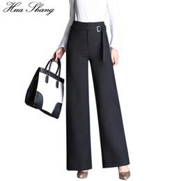 calças de cintura alta cintura Desconto Outono Moda Senhora Estilo Escritório Calças Formais de Cintura Alta Calças Perna Larga Mulheres Calças Pretas Com Cinto Plus Size Feminino