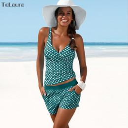 aeb77f1dbf63b 2018 New Plus Size Swimwear Women Swimsuit Two Pieces Tankini Padded Bathing  Suit Polka Dot High Waist Bikini Set Beachwear