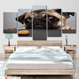 прекрасные картины Скидка Home Decor холст HD печатает фотографии Wall Art 5 штук прекрасный собака лицо картины животных Мопс плакаты для гостиной