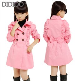 Девушки весеннее пальто двойной груди онлайн-Jackets For Girls Cotton High Quality Kids Clothes For Girls Long Length Kids Coats Double Breasted  Trench Spring