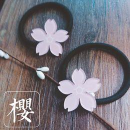 Wholesale Cherry Rings - Cute Pink Cherry Blossoms Girl Hair Ring Hairpin Tiara Small Fresh Girl Hair Ornaments Cherry Blossoms Brooch Hair Clip