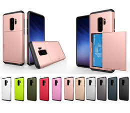 Wholesale Id Card Case Plastic - SGP Slide Card Slot Wallet ID Card Hybrid Dual Layer Case For iPhone 5 SE 6 6S 7 8 X Samsung Galaxy S6 S7 S8 S9 Plus Note Note8 J5 J7