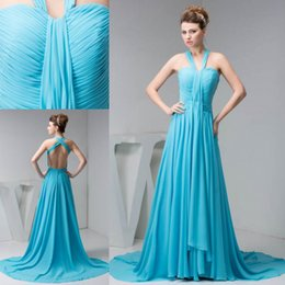 Wholesale gown peacock - Elegant Peacock Chiffon Bridesmaid Dresses A Line Halter Neck Pleats Floor Length Maid of Honor Gowns Sexy Backless WD4-1202