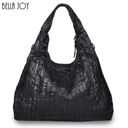 Wholesale Joy Color - BELLA JOY Large Capacity Woman Bags Genuine Leather Handbags Pleated Design Popular