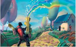 2019 пейзаж Абстрактный мультфильм прекрасный Радуга яркий красочные фантазии декорации детская комната украшения стены ткань плакат печать живопись скидка пейзаж