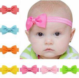 Gros-20 pcs / lot Bébé Fille Petit Arc Tie Bandeau DIY Grosgrain Ruban Arc Élastique Cheveux Bandes Pour Infant Toddler Cheveux Accessoires 644 ? partir de fabricateur