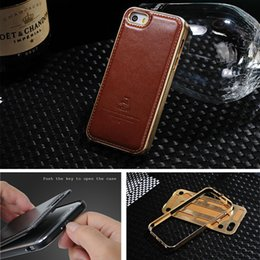 Wholesale Genuine Apple Accessories - Original Fineday Genuine Leather Back Cover With Premium Aluminum Metal Frame Case For Apple Iphone 5 5s Se Skin Bag Accessories