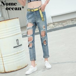 0a16569225fa High Street Cropped Pants for Women Cut Out Ripped Holes Boyfriend Jeans  Vintage Denim Pants XS-XL Jeans Trousers Girl M18081902