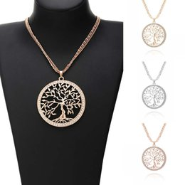 Wholesale Trendy Sweaters For Women - New Trendy Alloy Round Life Tree Hollow Pendant Jewelry Necklaces For Women Fashion Chip Rhinestone Sweater Long Chain D788S