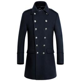 Wholesale Plus Size Long Pea Coat - Wholesale- Custom-Made fashion double breasted cashmere overcoat men good quality warm men pea coats plus size wear coat for men
