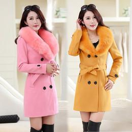 Mulheres de cabelo de mama on-line-Casaco de lã longa seção das mulheres 2018 inverno das mulheres coreanas de gola de cabelo casaco de lã trespassado casaco DD01