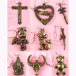 stainless steel guitar slide Promo Codes - Acrylic Pendant Stainless Steel Chain Clasp Mix 62 Styles Jesus Cross Love Heart Guitar Skull Animal Owl Boy Girl Lion Monkey Lots (JP019)