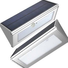 Luces de seguridad led super brillantes online-Solar de aluminio de luz LED del sensor de movimiento 48 LED super brillante 1000LM 4 Modos de jardín al aire libre impermeable de la lámpara de pared de Seguridad