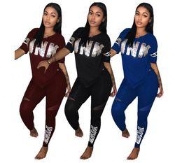 Wholesale Golf Short Set - Autumn and winter PINK alphabet splicing set, stylish short-sleeved V-neck casual suit (V-neck short sleeve + trousers)