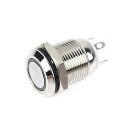 Interruptor de botão momentâneo vermelho on-line-12mm 3 V Vermelho / Azul LED Light Metal Interruptores de Botão de Aço Inoxidável À Prova D 'Água Botão Interruptor Momentâneo Reset Tipo de Travamento