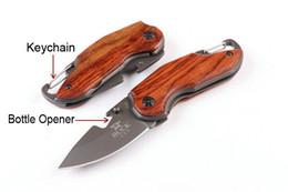 Wholesale Bottle Opener Kits - Hiking Knives X48 Buck Knife Little Rosewood Folding EDC Keychain Bottle Opener Pocket Outdoor Multi Tool Kit D734L