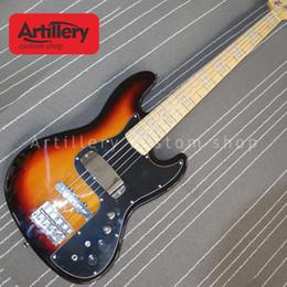 sonne platzte Rabatt Artillerie Fabrik benutzerdefinierte JAZZ BASS 5 Saiten Bass Gitarre mit Ahorn Fingerboard Sun Burst Farbe Musikinstrument Shop
