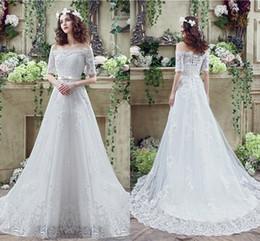 a76e2721ef3 Пользовательские размер элегантные платья лодка шеи Половина рукава линии  акцентированные аппликации тюль длинные свадьба невесты женщины свадебные  платья ...