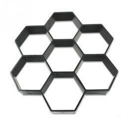 Wholesale cement brick - New Hexagon Garden Pavement Mold DIY Path Maker Mold Manually Paving Cement Brick Molds Stone Road Concrete Molds Tool 30*30cm