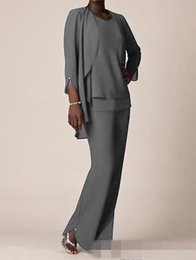 Wholesale Grey Color Evening Dress - Grey Chiffon Formal Pant Suits For Mother Groom Dresses 2017 Evening Wear Long Mother of the Bride Dresses With Jackets Plus Size Custom
