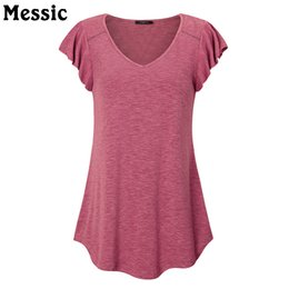 Wholesale Tunic Tops Ruffles - Messic 2018 Womens Casual V Neck Trendy Vintage A Line Solid Pleated Ruffles Short Sleeve Loose Fitted Swing Tunic Tops