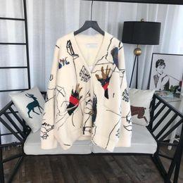 Pullover di visone online-2019 New Designer Ivory Graffiti Cardigan Womens Luxury Fashion maniche lunghe visone maglioni di cachemire donne 92839170