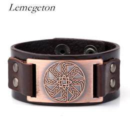 Wholesale Vintage Irish - whole saleLemegeton Irish Knot Slavic Kolovrat Wicca Norse Runes Leather Bracelets Vintage Cuff Wristband Charms Jewelry Punk Adjustable