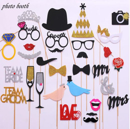 Wholesale bridal shower events - Mr Mrs Just Married Funny Photo Booth Props Bride Groom Sparkling Wedding Decoration Bridal Shower Event Party Supplies