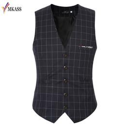 Wholesale Slim Hot Plaid Suit - Hot Sale Fashion Slim Fit Thin Grid Plaid Men Waistcoat Tops Spring Autumn New Man Suit Vest Hot Sale Quality Suit Vest Male