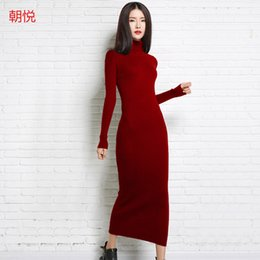 Wholesale Cashmere Knit Dress - Wholesale- 2017 new autumn and winter sexy long dress soft feminine with long collar cashmere sweater female turtleneck knitted pullovers